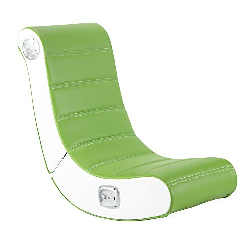 X-Rocker Play 2.0 Stereo Audio Multi-Media Floor Rocker, Folding Video Gaming Seat Chair with Built In Audio System, Leather Look - Lime Green/White