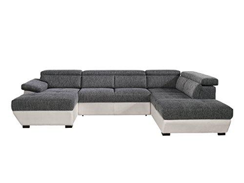 Mivano Wohnlandschaft Speedway / Sofa in U-Form mit verstellbaren Kopfteilen in Lederoptik und Strukturstoff / 332 x 79 x 222 / Zweifarbig Grau-Weiß