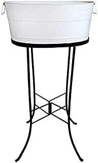 BREKX White Aspen Hammered Galvanized Beverage Tub W/Iron Stand - 25 Quart
