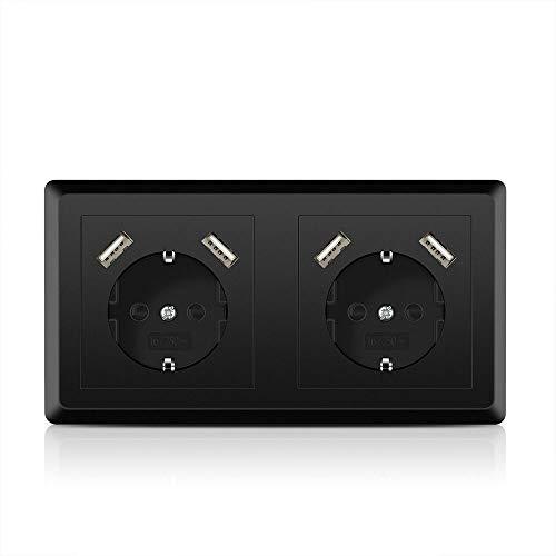 Doppelsteckdose mit 4 USB Anschlüssen Schwarz, Kaifire System 55 USB Schuko Steckdose unterputz Passt in Standard 2-fach Unterputzdose, Ladegerät Smartphone Tablet MP3