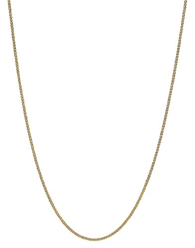 """Collier en chaîne de blé rond en or jaune massif 14K avec diamants taillés .6mm 16 """" - 0"""