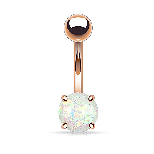 Faux Opal Glitter Prong Set Rose Gold IP over 316L Surgical Steel Belly Button Ring