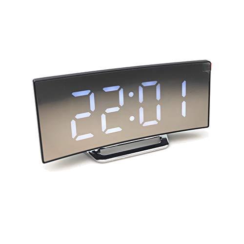 kewaii Dimmbarer Led-Bildschirm Digitaluhr, Digitaler Wecke, LED Schreibtisch Uhr für Schlafzimmer Büro USB-Ladeanschluss, LED Large Screen Mirror Clock (Weiß)