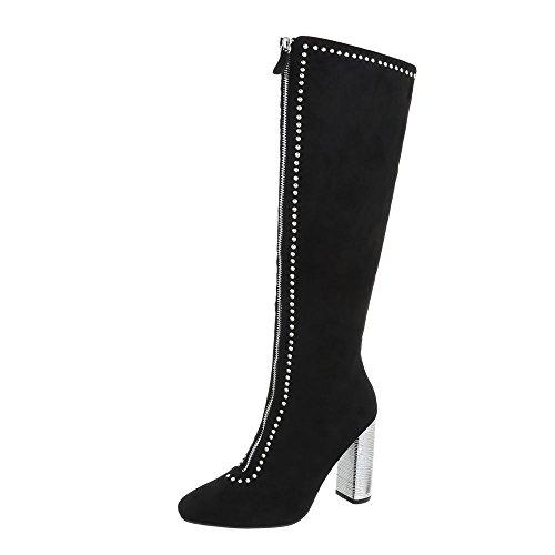Ital-Design High Heel Stiefel Damen-Schuhe High Heel Stiefel Pump High Heels Reißverschluss Stiefel Schwarz, Gr 38, Ae30-