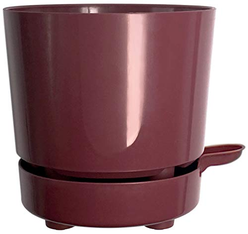 6' Self Watering + Aerating Ventilation + Rapid Drain + Deep Reservoir Round Planter Pot Prevents Mold, Root Rot & Soil Fungus in Herbs, Succulents, for Indoor & Outdoor & Windowsill Gardens (Plum)