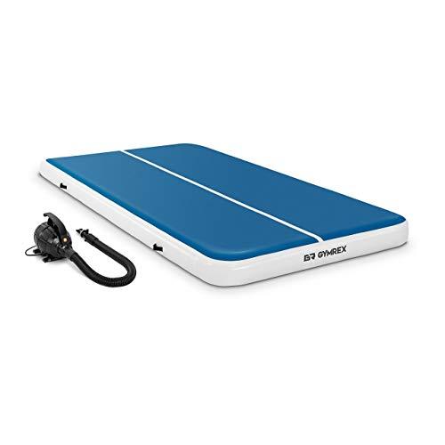 Gymrex GR-ATM8-SET Set Aufblasbare Turnmatte inklusive Luftpumpe 300 x 200 x 20 cm 300 kg blau/weiß Gymnastikmatte Fitnessmatte Sportmatte