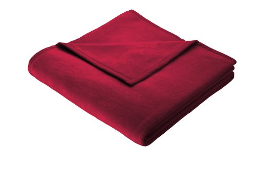 Biederlack Wohn- und Kuscheldecke, 100 % Baumwolle, Samtband-Einfassung, 150 x 200 cm, Rot, Cotton Pure, 239695