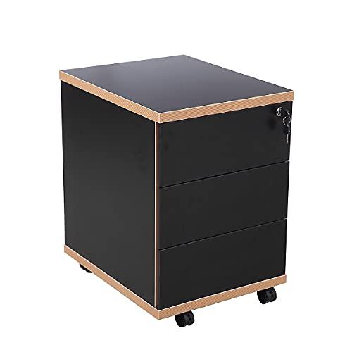 Novigami Rollcontainer Zo | 3 Schubladen | HxBxT 585 x 405 x 500 mm | Schwarz mit Sichtkante | Schubladencontainer Schubkastencontainer Lowboard Fußhocker