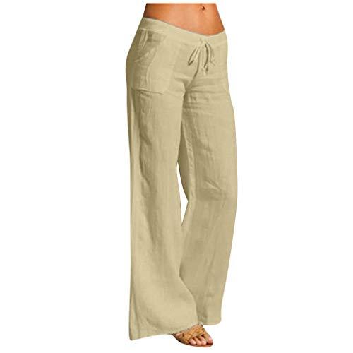 Linen Pants for Women Golf Pants Stretch Lightweight Cotton Linen Wide Leg Summer Pants Elastic Drawstring Trousers