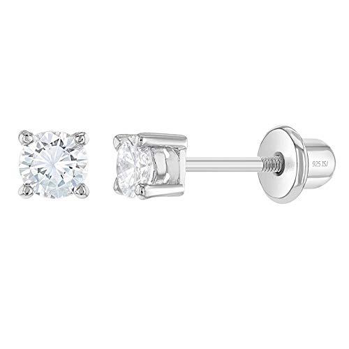 In Style Jewelry Plata Fina 925 Pendientes con Cierre de Rosca en Forma de Tachuela con Circonita Transparente de 3mm para Bebés y Niñas Pequeñas