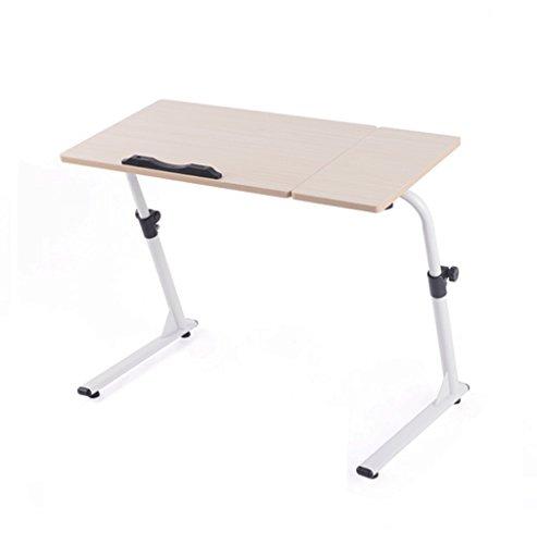 Ordinateur de bureau Table de chevet simple table pliante Lit paresseux lit Table de chevet avec canapé Bureau d'apprentissage Levage librement Tournant coeur (Color : White maple color)