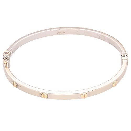 Jollys Jewellers Brazalete para mujer de oro amarillo y blanco de 9 quilates con detalle de tornillo de 17,78 cm (4 mm de ancho)