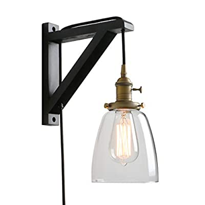 Pathson Retro Wall Light with On Off Switch, 1-Light Plug in Wall Sconce for Bedside, Industrial Style Wall Lamp Fixtures Suitable for TV Wall, Hotel, Bedroom, Living Room