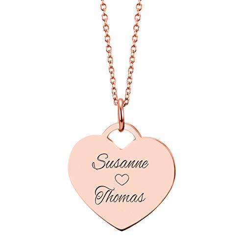 URBANHELDEN - Herzkette mit Wunschgravur - Damen-Kette Namenskette mit 2 Namen - Amulett in Herzform - Personalisierte Kette Herz Anhänger - Rosegold