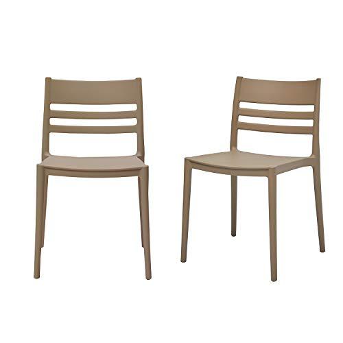 AmazonBasics, Grey, Armless Slot-Back Dining Chair-Set of 2, Premium Plastic