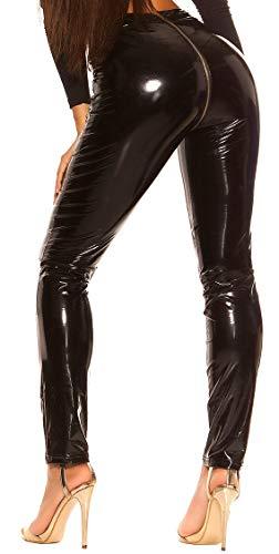 Firstclass Trendstore Wetlook Hose mit Reißverschluß Gr. S-XL, Zip Clubwear Damenhose (LE19798 schwarz S 900894)