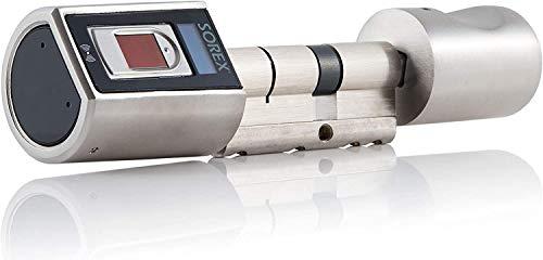 Sorex Flex Fingerprint Türschloss für Fernöffnung mit österreich. Support! - Zylinder längenverstellbar, schnelle einfache Montage, elektron. Türschloss, inkl. VARTA Batterien, Edelstahl gebürstet