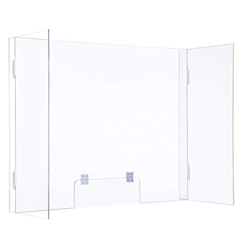 Sumerflos Clear Acrylic Sneeze Guard, Pack of 2-31' x 24' Combined Personal Protective Plexiglass Shield Barrier with Adjustable Transaction Window for Offices, Banks, and Counters