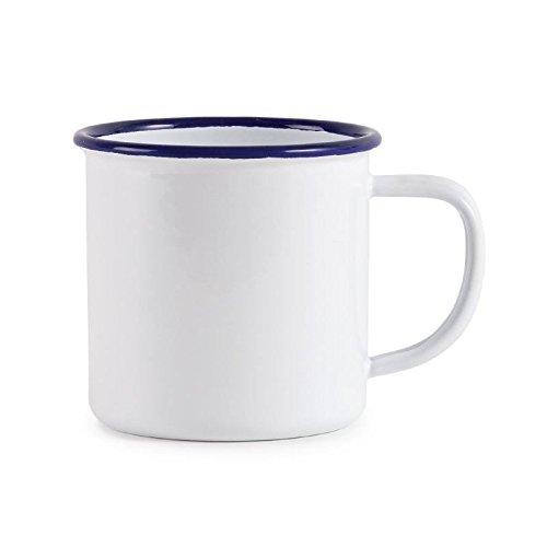 Olympia emaillierte Tassen weiß-blau 35cl, 6 Stück