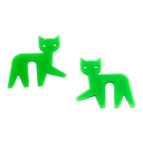 NineLives Topfwächter Katze hellgrün, Silikon, 4.5. x 4.5 x 0.8 cm, 2 Einheiten