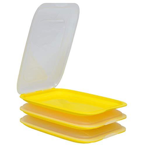 ENGELLAND - Hochwertige stapelbare Aufschnitt-Boxen, Frischhaltedose für Aufschnitt. Wurst Behälter. Perfekte Ordnung im Kühlschrank, 3 Stück Farbe Gelb, Maße 25 x 17 x 3.3 cm