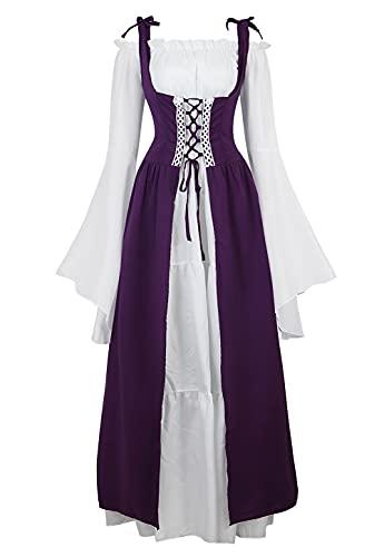 Disfraz renacentista para mujer vestido de hadas gtico vestido de campesino vestido medieval prpura S