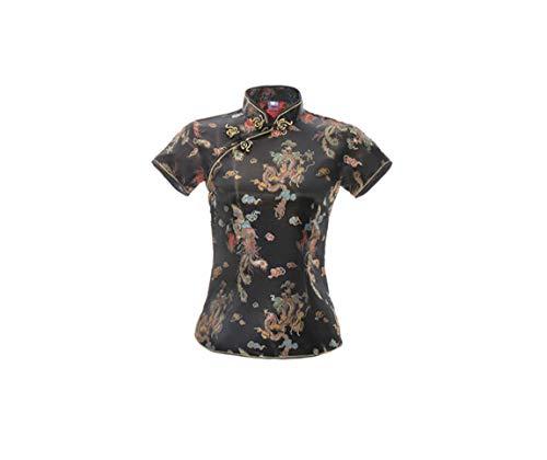 ACVIP Damen Drache Phoenix Qipao Top Kurzarm Stehkragen Chinesische Bluse Oberteile(China 4XL/EU 46,Schwarz)