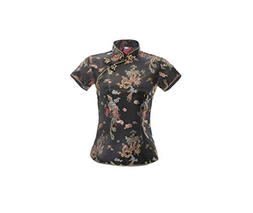 ACVIP Damen Drache Phoenix Qipao Top Kurzarm Stehkragen Chinesische Bluse Oberteile(China 2XL/EU 42,Schwarz)