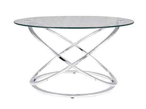 LUENRA - Mesa baja, mesa de salón, mesa de café, cristal templado, 80 × 80 × 46 cm, redonda, estructura de metal con patas plateadas, estilo moderno, Art Decor