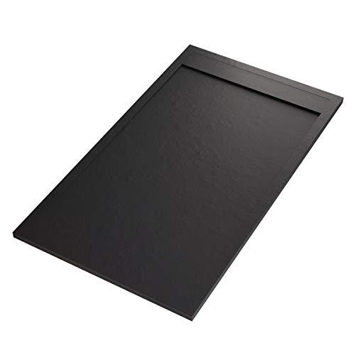 Prestige Receveur de douche en marbre minéral, grille latérale, noir 90x140
