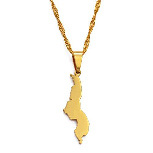 nice cheng República De Malawi Colgante Y Collar Color Oro Países Africanos Dziko La Malawi Joyería Regalos # 024121