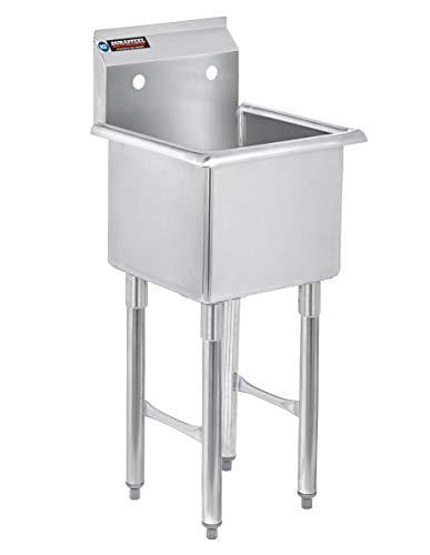 Stainless Steel Prep & Utility Sink - DuraSteel 1 Compartment Commercial Kitchen Sink - NSF Certified - Single 15 x 15 Inner Tub (Restaurant, Kitchen, Laundry, Garage)