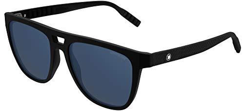 Montblanc gafas de sol MB0063S 002 Negro, azul, tamaño de 55 mm de Hombre