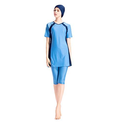 Lazzboy Frauen Muslimischen Badeanzug Mit Kappe Volltonfarbe Beachwear Bademode Bescheiden Surfing Suit Muslim Hindu Jüdisch Shorts Sonnenschutzmittel(Blau,2XL)