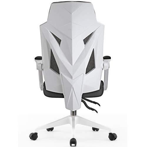 Loywe Bürostuhl Schreibtischstuhl Drehstuhl Schwarz-Weiss, Gaming Stuhl Mesh Netz, Ergonomischer Chefsessel mit Verstellbarer Kopfstütze Rückenlehne Höhenverstellung LWB016