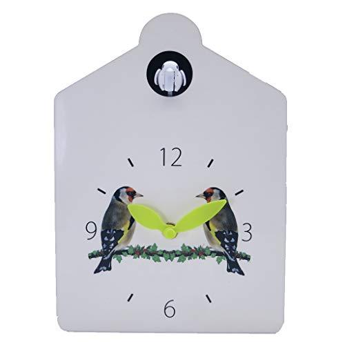 DEEWISH Birdhouse weiß, Moderne hölzerne Hauptdekorwand Kuckucksuhr 12 natürliche Vogelstimmen Kuckucksruf für Kinderfamilie (230 * 165 * 70 MM, Weiß)