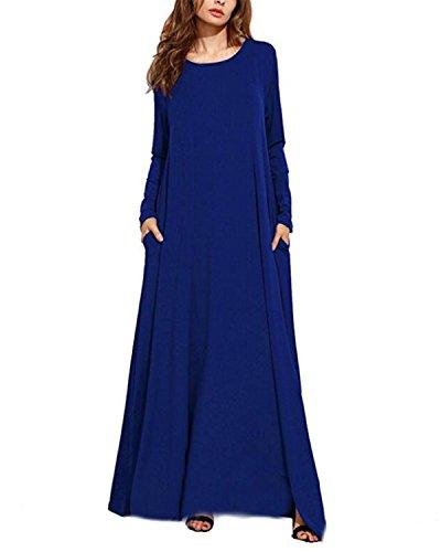 Kidsform Damen Maxikleid Ärmel Baggy Kleid Fest Taschen Sommerkleid Lange Partei Kleider Blau M