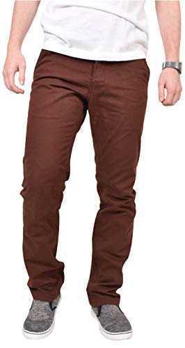 Kushiro - Pantaloni chino a gamba diritta, in cotone spigato, aderenti, da uomo Deep Mahogany 34W x 31L