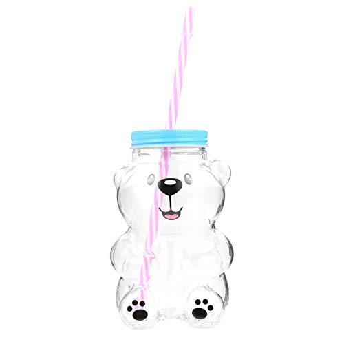 Yardwe - Botella de agua de cristal en forma de oso con tapa de paja de dibujo animado de cristal Mason Tarro taza de vaso para zumo de té con leche de agua (550 ml)