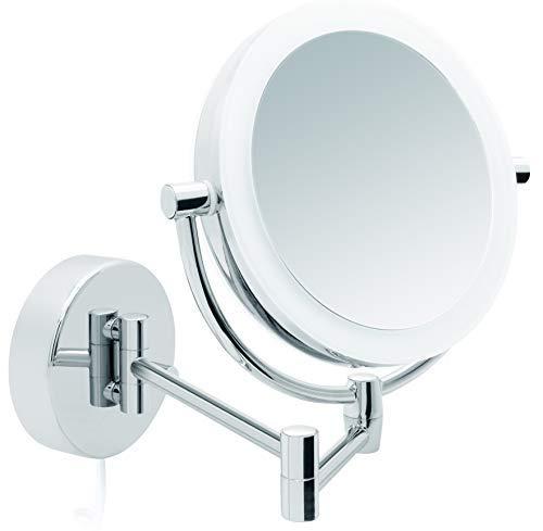 Libaro LED Kosmetikspiegel Modena - Vergrößerungsspiegel mit Beleuchtung - Badspiegel - rund - 5X / 10x Vergrößerung - 360 Grad drehbar - Dimmfunktion