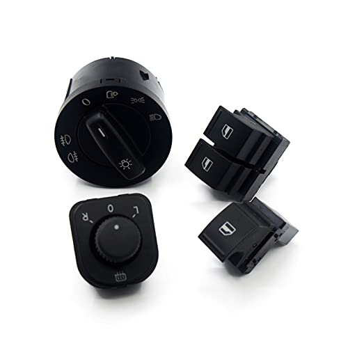SBCX 4 Juegos de botón de Interruptor de Espejo de Windows de Faro 1K0 941 431N 1K0 959 565H 1K3 959 857A 1F0 959855, para VW EOS Golf 5 6 GTI Passat CC