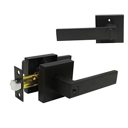 Manilla de puerta de entrada resistente (para oficina/puerta delantera) con estilo plano, izquierda o derecha, llaves iguales y combinadas, 5 unidades, negro mate