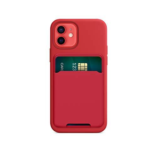FRTMA Soporte magnético para tarjetas compatible con iPhone 12/Pro/Max/Mini, funda de silicona magnética para MagSafe (rojo)