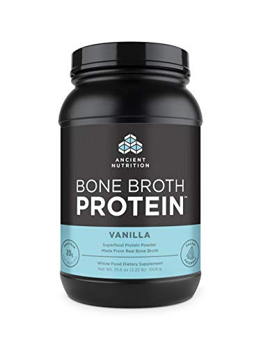 Protein Powder Made from Real Bone Broth by Ancient Nutrition, Vanilla, 20g Protein Per Serving, 40 Serving Tub, Gluten Free Hydrolyzed Collagen Peptides Supplement, Great in Protein Shakes