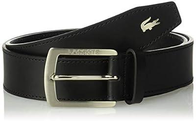 Lacoste Men's Thick Buckle Belt, Black, 34