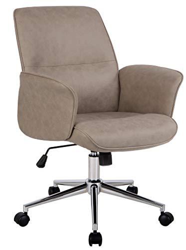 SixBros. Bürostuhl,Schreibtischstuhl zum Drehen, Drehstuhl für's Büro oder Home-Office, stufenlos höhenverstellbar, Chefsessel aus Kunstleder, braun, 0704M/8061