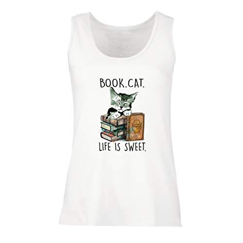 Canotta Donna Libro Vita da Gatto è Dolce Gattino Regalo d'Amore per i Lettori (Large Bianco Multicolore)