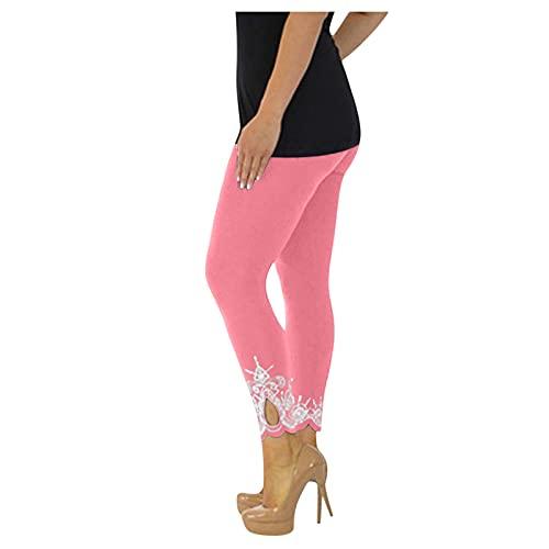 URIBAKY - Pantalones cortos estampados para mujer, de color liso, con estampado floral y elástico, cintura y pantalón largo, B-rosa., 4XL