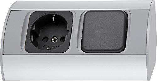 Aufbau Aluminium Steckdosenleiste mit Schalter - horizontal + vertikal - 230V 3600W