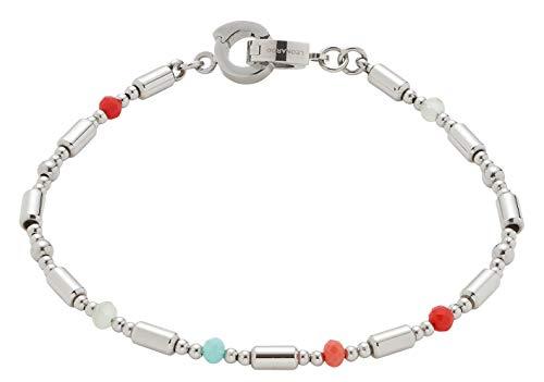 Jewels by Leonardo DARLIN'S Damen-Armband Corallo, Edelstahl mit farbigen Schliffglas-Perlen, Clip & Mix System, Länge 180 mm, 016821